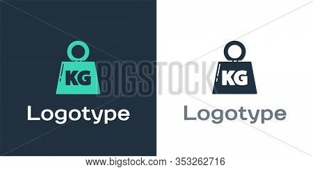 Logotype Weight Icon Isolated On White Background. Kilogram Weight Block For Weight Lifting And Scal