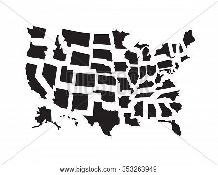 Vector Set Bundle Of Black Hand Drawn Doodle Sketch Outline Usa States Map Isolated On White Backgro