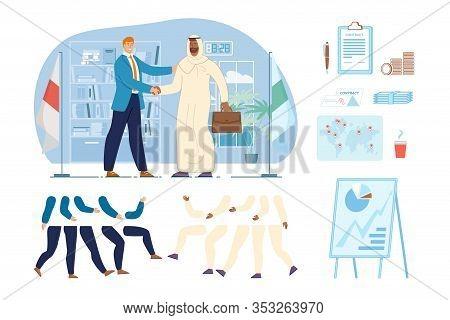 International Businessmen, Politics Characters Constructor. Caucasian Entrepreneur, Diplomat Handsha