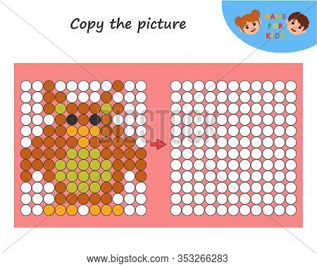 Education Logic Game For Preschool Kids. Copy The Picture. Learning Symmetry For Preschool Children