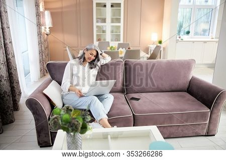Leisure Time At Home With Gadgets Stock Photo