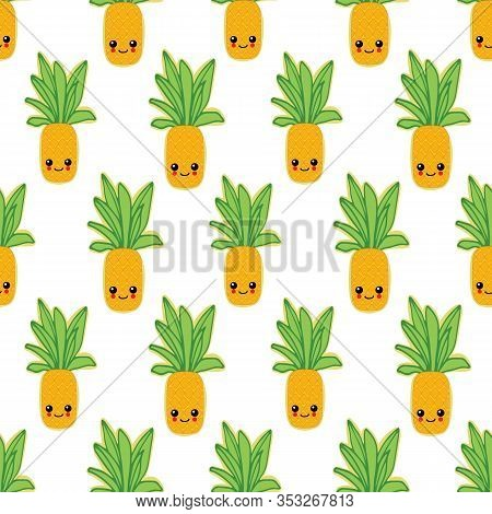 Summer Colorful Pineapple Textile Print.pineapple Background For Scrapbooking.pineapple Vector Backg