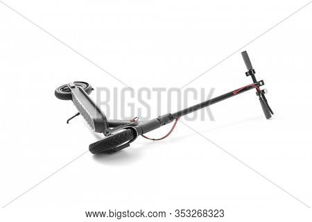Electric scooter of lies on white background, including clipping path