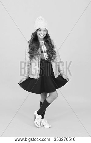 Feeling Playful. Schoolgirl Tidy Outfit With Backpack. Fashion Accessory. Girl Smiling Face Little F