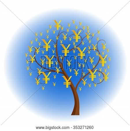 Money Tree With Yen Signs As Leaves - Vector Illustration