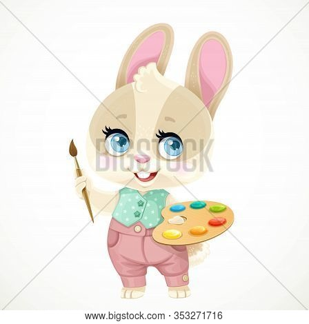 Cute Little Rabbit Holding A Wooden Palette With Paints And Brush Isolated On White Background