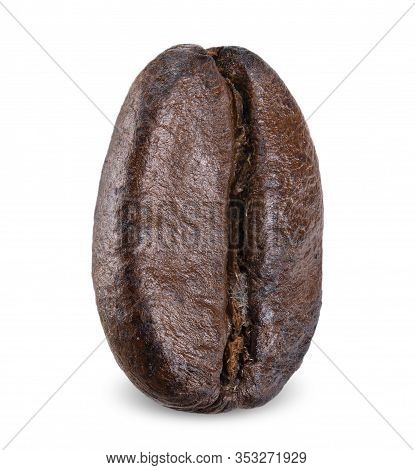 Coffe Bean Isolated On White, Close Up Coffe Bean Clipping Path All Focus
