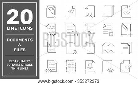 Set Of Document Icons. Contains Such Icons As Batch Processing, Legal Documents, Clipboard, Download