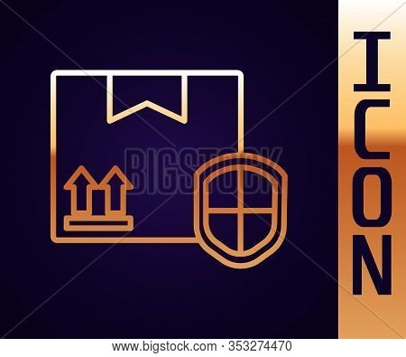 Gold Line Delivery Pack Security With Shield Icon Isolated On Black Background. Delivery Insurance.