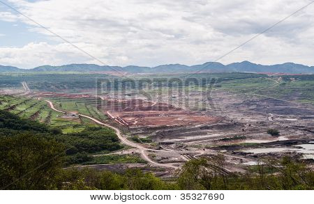 Lanscape Of Coalmine With Cloudy And Mountain