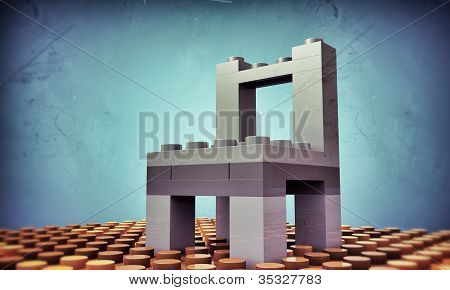 plastic bricks assembled like a chair isolated on blue background poster