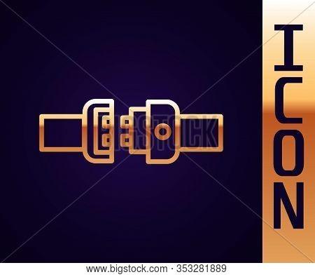 Gold Line Safety Belt Icon Isolated On Black Background. Seat Belt. Vector Illustration
