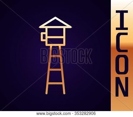 Gold Line Watch Tower Icon Isolated On Black Background. Prison Tower, Checkpoint, Protection Territ