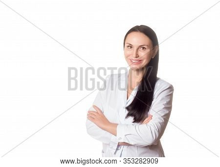Doctor Cosmetician. Caucasian Friendly Smiling Woman In Medical Gown, Half-length Portrait, Isolated