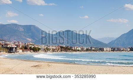 Alanya Coastline.  The View Along East Beach On The Coastline Of The Turkish City Of Alanya.