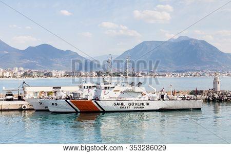 Alanya, Turkey - February 05:  The Alanya Coastguard Boat Is Seen Moored In Alanya Harbour, Turkey O