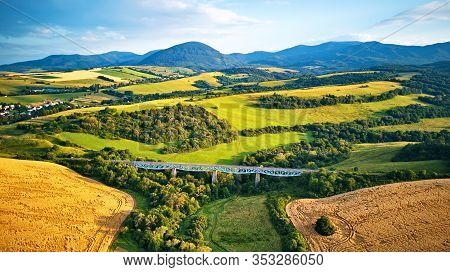 Aerial View Of Railway Viaduct On The Tatra Hills In Slovakia