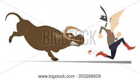 Farmer Or Cowboy And Angry Bull Illustration. Frightened Farmer Or Cowboy Runs Away From The Angry B