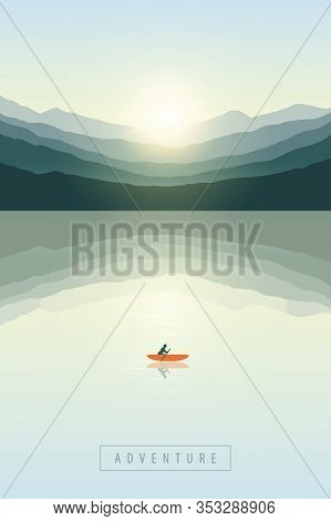 Lonely Canoeing Adventure Boat At Sunrise By The Lake On Mountain Nature Landscape Vector Illustrati