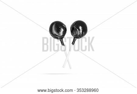Blank Two Black Lollipop Wrapper Mock Up, No Gravity, 3d Rendering. Empty Foil Cover On Round Comfit