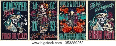 Colorful Vintage Posters Collection With Gangster Dia De Los Muertos Skateboarding And Chicano Tatto