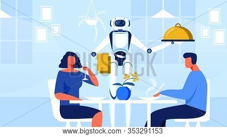 Robot Waiter In Restaurant Flat Vector Illustration. Man And Woman Sitting At Table In Modern Cafe,