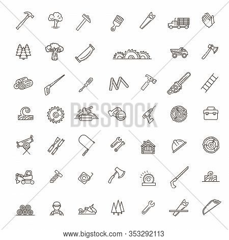 The Forest Industry In The Modern Linear Style Icons