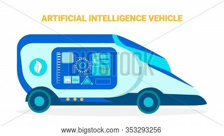 Artificial Intelligence Vehicle Banner Template. Futuristic Automobile Flat Illustration. Technologi
