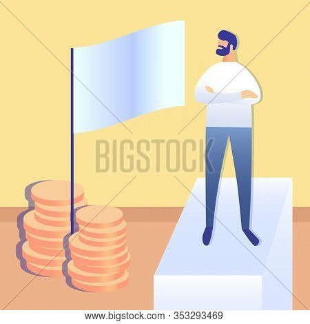Goal Achievement, Success Flat Vector Illustration. Ambitious Leader Cartoon Character. Successful B