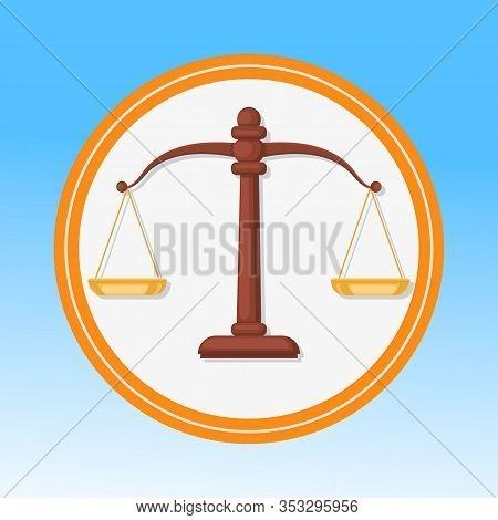 Court Symbol, Scales Flat Vector Illustration. Balance, Harmony, Justice, Equality Metaphor. Libra Z