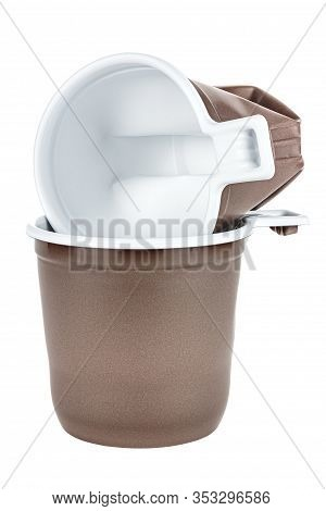 Lying In The New Same Mug Crumpled Unused Disposable White Plastic Mug With Brown Satin Texture On T