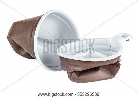 Crushed And Crumpled Unused Disposable White Plastic Mugs With Brown Satin Texture On The Outside Is