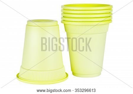 Upside Down One And Standing Five In Set Unused Green Disposable Cups Made Of Biodegradable Material