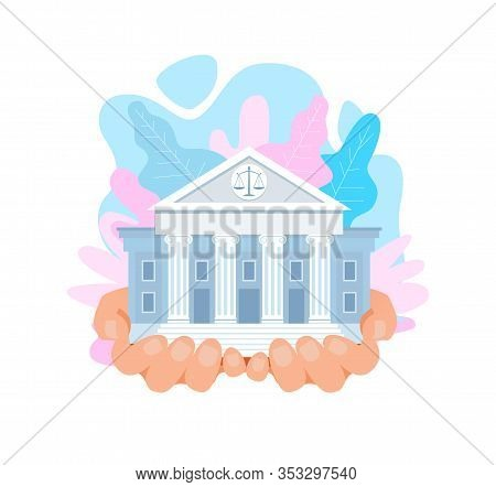 Us Supreme Court Building Flat Vector Illustration. Courthouse In Hands. Cartoon Classic Architectur