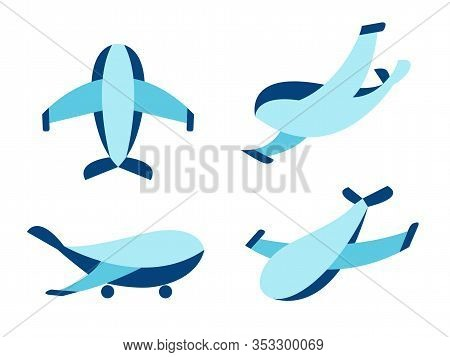 Vector Airplane Icons: Passenger Plane, Military Jet. Thin Line Airplane Icons Set. Military Jet Ico