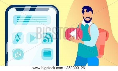 Ui, Ux Designer, Developer Vector Illustration. Guy With Knapsack Holding Play Button Cartoon Charac