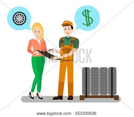 Mechanic, Client Dialogue Flat Vector Illustration. Cartoon Mechanic, Repairman, Consultant Selling
