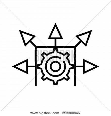 Mechanisation System Line Icon, Concept Sign, Outline Vector Illustration, Linear Symbol.