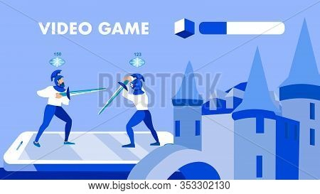 Multiplayer Game Application Banner Vector Concept. Medieval Knights In Combat Poses Cartoon Charact