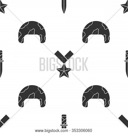 Set Military Knife , Military Reward Medal And Military Helmet On Seamless Pattern. Vector