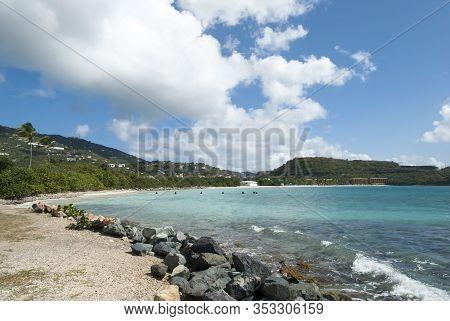 The View Of Lindbergh Bay And St. Thomas Island Coastline (u.s. Virgin Islands).
