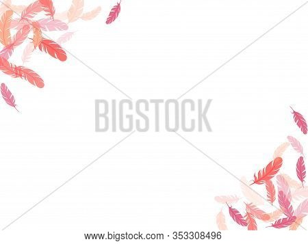 Cool Pink Flamingo Feathers Vector Background. Soft Plumelet Native Indian Ornament. Plumage Trendy
