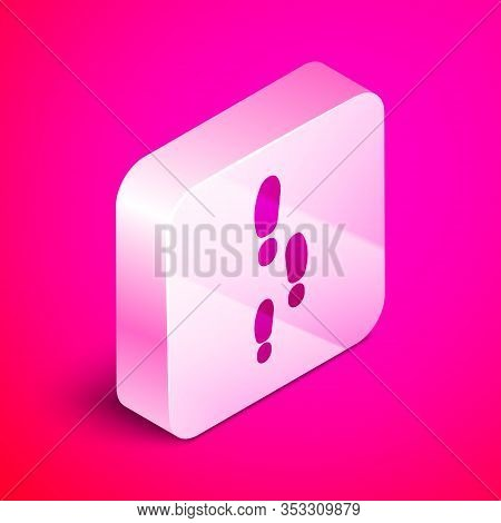 Isometric Footsteps Icon Isolated On Pink Background. Detective Is Investigating. To Follow In The F