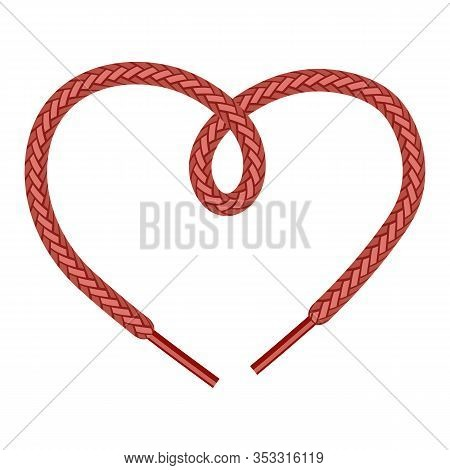 Red Shoelace On White Background. Symbol Of Heart.