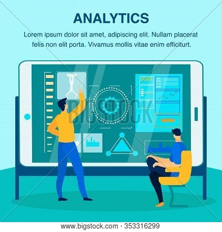 Industrial Analytics Flat Vector Banner Template. Manufacturing Experts, Engineers, Managers Analysi