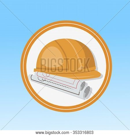 Construction Engineer, Architect Flat Vector Icon. Orange Protective Helmet And Drafts Cartoon Illus