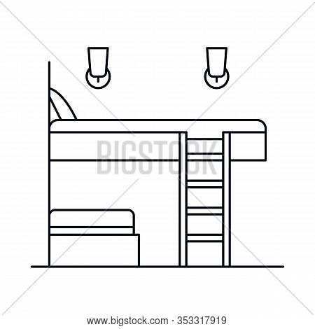 Interior With Bed, Bedroom, Sleep, Stairs. Vector Interior With Bed, Bedroom, Sleep, Stairsin Outlin