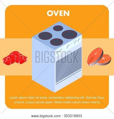 Electric Oven, Cooker Flat Vector Banner Template. Cooking Meat, Fish Typography With Text Space. Re