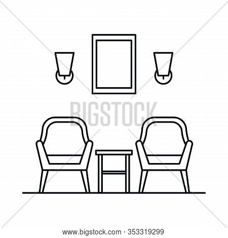 Interior With Armchair, Chair, Stool, Lamp, Painting. Vector Interior With Armchair, Chair, Stool, L