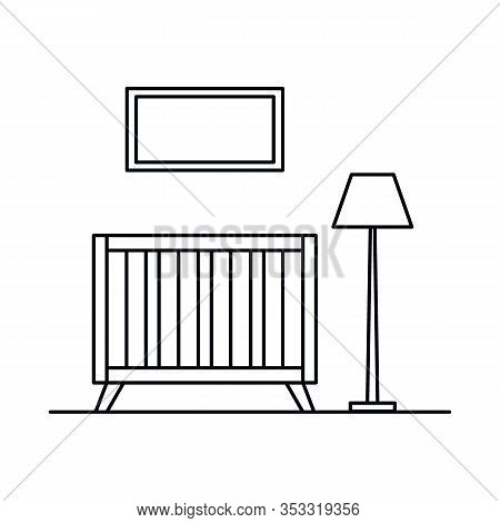 Interior With Crib, Lamp, Window, Bedroom. Vector Interior With Crib, Lamp, Window, Bedroom In Outli